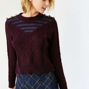 Striped Cable Knit Crop Sweater